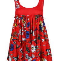 Red Floral Print Gemstone Detail Dress Mini Dress