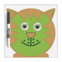 Green Cartoon Cat Dry-Erase Board