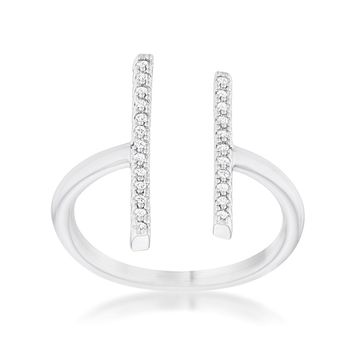 Parallel Bar Crystal Ring
