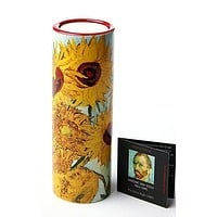 Van Gogh Sunflowers Ceramic Tealight Candleholder 5.75H