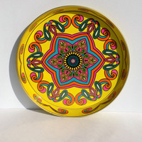 Bright Yellow Daher Decorated Ware Tin Tray - Bohemian Mandala - Mod Bar Tray - Made in England- Pink, Turquoise, Orange and Gold Accents