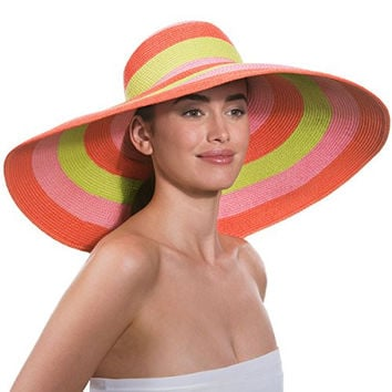 Eric Javits Women's Luxury Headwear Stripe Dip Brim Hat (Orange Pop)