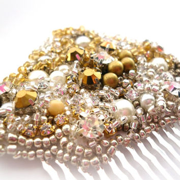 Gold Crystal & Pearl Comb Encrusted Bridal Comb Wedding Hair Accessories Pearls Hair Comb, Golden Hairpiece, Bling wedding, Glamour weddings
