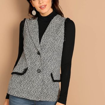 Black and White Frayed Trim Tweed Vest