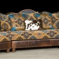 Pony and teal blue sectional sofa, couch. Leather patchwork