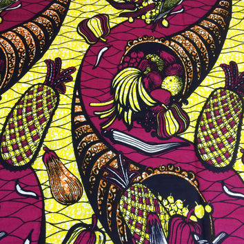 Congolese Fabric--African Wax Print Fabric--Ankara Fabric--Magenta/Yellow Tropical Cornucopia--Fabric by the HALF YARD