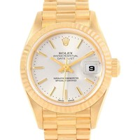 Rolex President Datejust 18k Yellow Gold Silver Dial Ladies Watch 79178