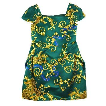 ONETOW Versace Girls Green Fancy Dress