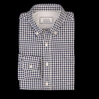 UNIONMADE - Officine Generale - Gingham Button Down Japanese Slub Poplin in Navy and White