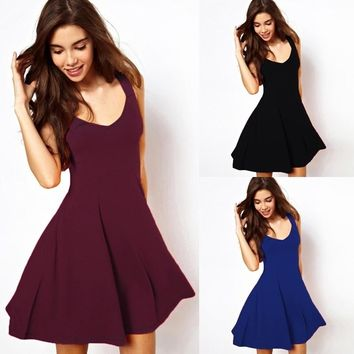 2017 Fashion Vintage Prom Dresses Solid Casual Elegant Dresses Women Sleeveless Party Skater