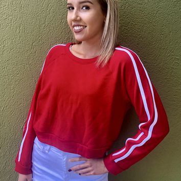 You're Magnetic Crew Neck Top- Red