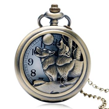 Awesome Roaring Wolf Moon Retro Pocket Watch Necklace Hollow Watches Men Guys Boys Gifts Bronze Copper Luxury Relogio De Bolso