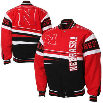 Nebraska Cornhuskers Arch Rival Twill Full Button Jacket - Scarlet