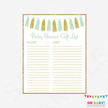 Printable Gift List, Gender Neutral Baby Shower, Guest Sign-in Sheet, Mint Gold Baby Shower Printable, Gift List, Instant Download, TASMG