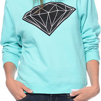 Diamond Supply Co Women's Big Brilliant Mint Crew Neck Sweatshirt