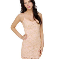 Sexy Light Pink Body Con Lace Dress