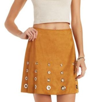 Camel Grommet-Embellished Faux Suede Skirt by Charlotte Russe