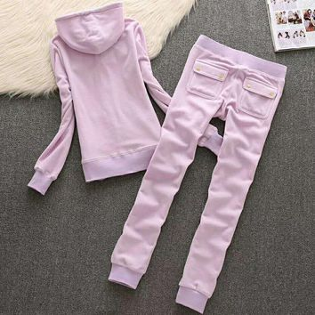 Juicy Couture Fashion Casual Long Sleeve Zipper Hoodie Long Pants J Velvet Two Piece Set Pink G-ALNZ