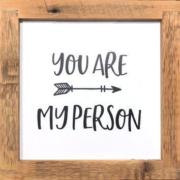 You Are My Person with Cupid's Arrow - Handmade Reclaimed Antique Wood Framed Print - 12 x 12-in