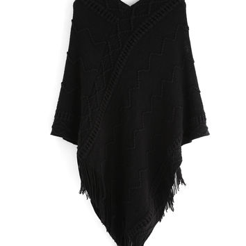 Black V-Neck Geometric Patterned Fringe Poncho Dress