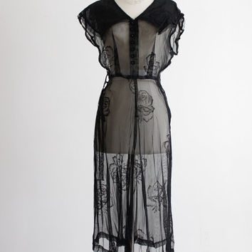 1940s Floral Lace Dress - Sheer, See Through // Art Deco Style, Sailor Collar - Size 3 4, Small, Medium,
