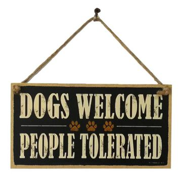 Wooden Door DOGS WELCOME Sign Board