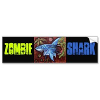 Zombie Eats Shark Bumper Stickers from Zazzle.com