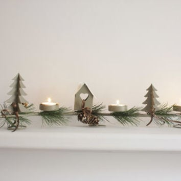 Christmas Candle Holder With Pine Cone And Fir Trim