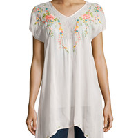 Short-Sleeve Embroidered Long Tunic,