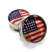 American Flag Picture Plugs gauges - 16g, 14g, 12g, 10g, 8g, 6g, 4g, 2g, 0g, 00g, 1/2, 9/16, 5/8, 3/4, 7/8, 1 inch