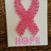 Breat Cancer Awareness Hand Painted String Art Sign, Support with Hope Wall Hanging Gift, Unique Made to Order Gift,