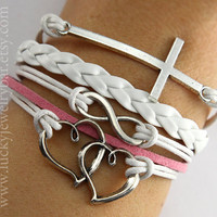 Cross bracelet, infinity bracelet, heart to heart bracelet, belief and infinty love