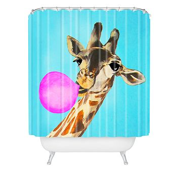 Coco de Paris Giraffe blowing bubblegum Shower Curtain