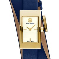 Women's Tory Burch 'Buddy Signature' Double Wrap Watch, 29mm x 25mm - Navy/ Gold