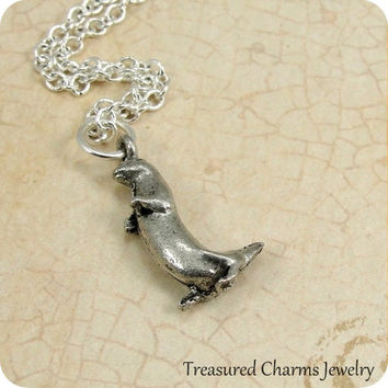 Otter Necklace, Silver Otter Charm on a Silver Cable Chain