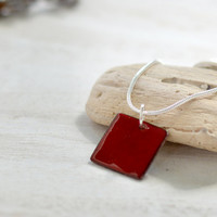 Red enamel pendant - small dainty necklace square - minimalist copper and sterling silver - artisan jewelry by Alery