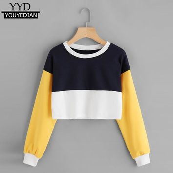 2017 New Fashion Womens Long Sleeve Patchwork O Neck Sweatshirt Casual Short Style Hoodies Pullover Moletom Feminino Sweat #1113