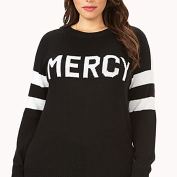 FOREVER 21 PLUS Quirky Mercy Sweater Black/White
