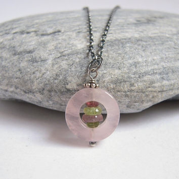 Rose Quartz Necklace With Watermelon Tourmaline, Gemstone Pendant On Sterling Silver Rolo Chain, Shabby Chic, Healing Crystal Jewelry