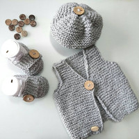 Newborn set, baby boy coming home outfit, linen knit vest, baby vest, hat, booties newborn gift, handmade gif