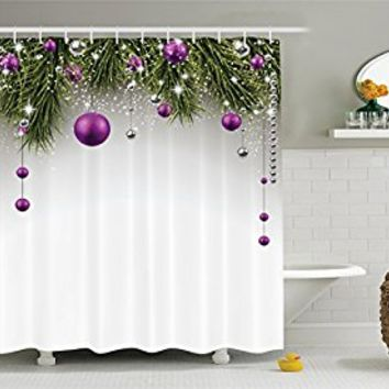 Christmas Decorations Shower Curtain Set by Ambesonne, Christmas Tree Decorations Tinsel and Balls with Gift Wrap Ribbon Picture, Bathroom Accessories, 84 Inches Extralong, Purple Grey Green