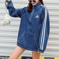 """Adidas"" Women Casual Fashion Letter Print Stripe Long Sleeve Zip Pullover Denim Coat Tops"