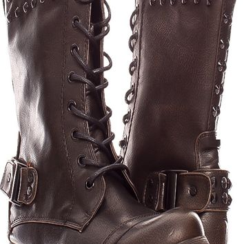BLACK FAUX LEATHER FRONT LACE BACK BUCKLE ACCENT SIDE ZIPPER STUDDED ACCENT BOOTS