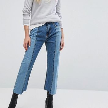 EVIDNT Two Tone Crop Mom Jeans with Uneven Hem at asos.com