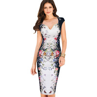 Vfemage Womens Summer Elegant Floral Butterfly Print Charming Pinup Cap Sleeve Casual Party Bodycon Sheath Dress 2556