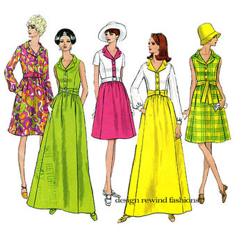 1960s VOGUE DRESS PATTERN Vogue 1942 Basic Design Day Dress or Mod Evening Gown Maxi Dress Bust 34 Vintage Womens Sewing Patterns Size 12