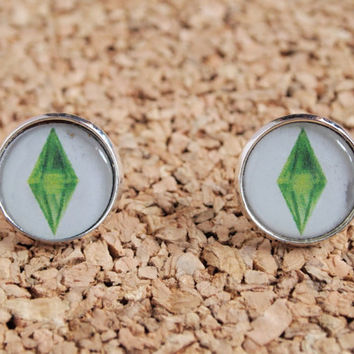 The Sims Plumbob Studs - cute sims logo earrings gamer jewelry ea 16mm post FREE shipping to USA