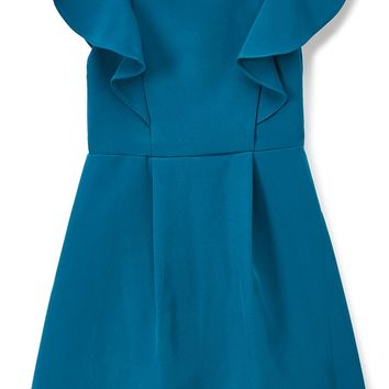 Teal Flutter Skater Dress with Pleated Skirt Girls 2-12 & Plus 14x-18x