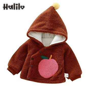 Halilo Baby Girl Outerwear Autumn Winter Warm Baby's Coat Fruit Print Baby Girl Boy Clothes Hooded Boys Girls Coats And Jackets