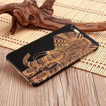 Elephant Tribal Ultra Thin 100% Natural Wood Phone Case For iPhone 7 7Plus 6 6s Plus 5 5s SE